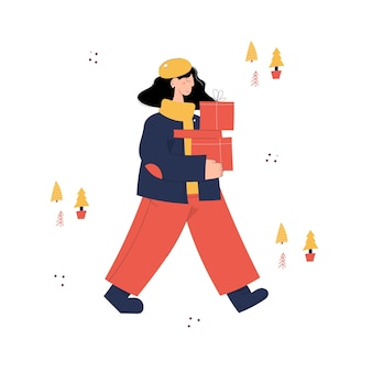 Joyeux noël avec personnage de jeune femme transportant des coffrets cadeaux de vente de noël