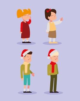 Joyeux noël personnes caractère saison célébration icônes illustration