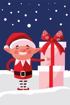 Joyeux noël petit elfe avec des coffrets cadeaux dans l'illustration de la neige