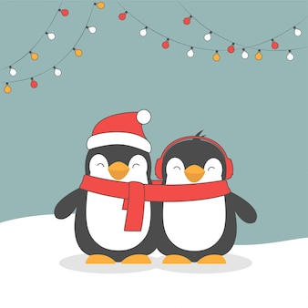 Joyeux noël pingouins mignons.