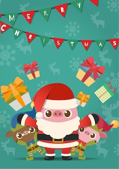 Joyeux noël, porcs en costume de père noël et elfe.