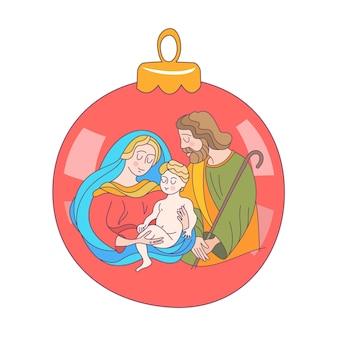 Joyeux noël. la sainte famille. boule de noel.