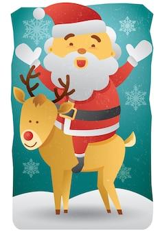 Joyeux noël santa clause sur renne profiter de l'illustration vectorielle