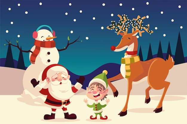 Joyeux noël santa helper bonhomme de neige et renne dans l'illustration de la nuit enneigée