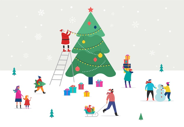 Joyeux noël, scène d'hiver avec un grand arbre de noël et de petites personnes, jeunes hommes et femmes, familles s'amusant dans la neige, décoration d'un arbre, ski, snowboard, luge, patinage sur glace