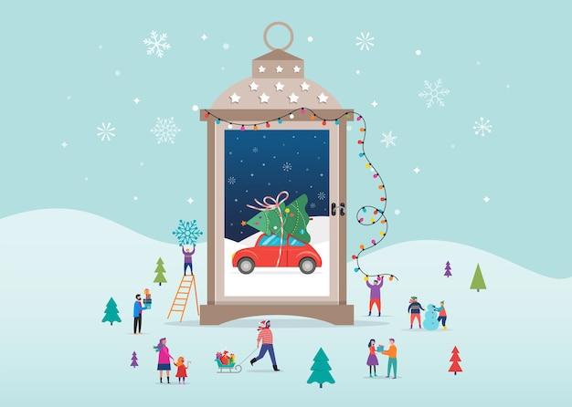 Joyeux noël, scènes du pays des merveilles d'hiver dans la boule à neige s