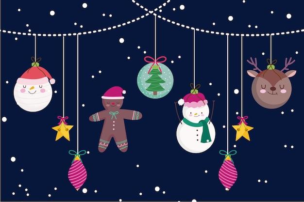 Joyeux noël suspendu boules de cerf de bonhomme de neige et illustration de décoration