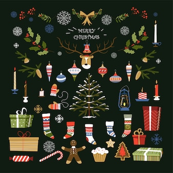 Joyeux noël, symboles traditionnels et objets de vacances d'hiver