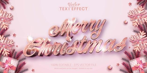Joyeux noël texte effet de texte modifiable de style couleur or rose