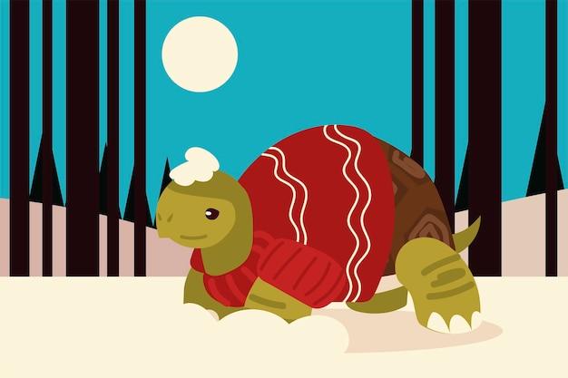 Joyeux noël tortue mignonne avec écharpe et pull dans l'illustration de la scène d'hiver