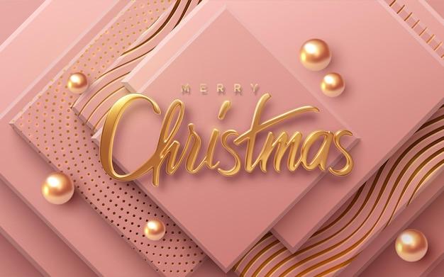 Joyeux noël vacances signe d'or sur fond rose géométrique