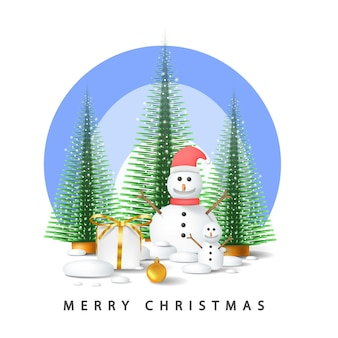 Joyeux noël vecteur avec arbre, boîte-cadeau, boule et bonhomme de neige