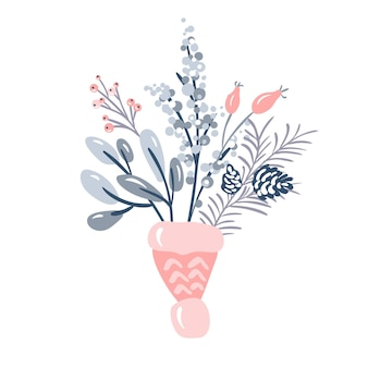 Joyeux noël vecteur invitation bouquet de fleurs et branche de pin