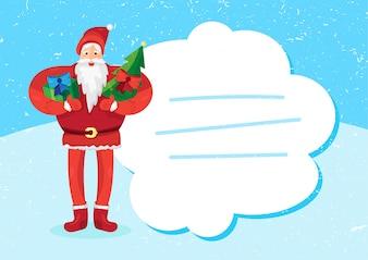 Joyeux Noël voeux avec le père Noël ou le père Frost avec cadeau et sapin dans les mains. Vecteur