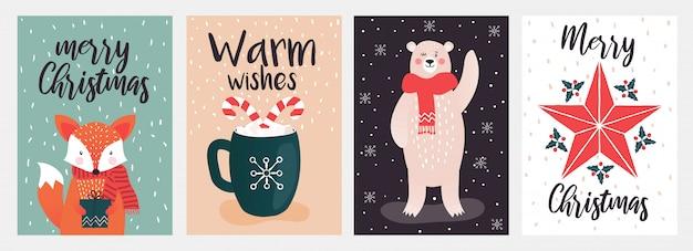 Joyeux noël et voeux chaleureux design de carte de voeux