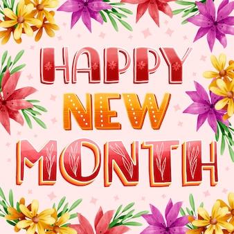 Joyeux nouveau mois de voeux avec des éléments aquarelle