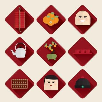 Joyeux nouvel an chinois 2017 icônes définies vector