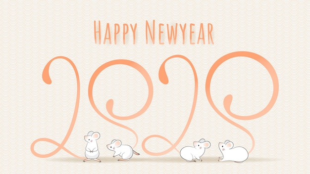 Joyeux nouvel an chinois 2020, année du zodiaque du rat. quatre souris à longue queue dont la forme ressemble au numéro 2020.