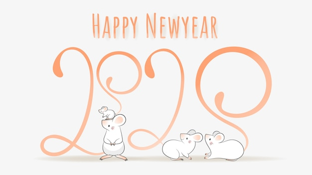 Joyeux nouvel an chinois 2020, année du zodiaque du rat.