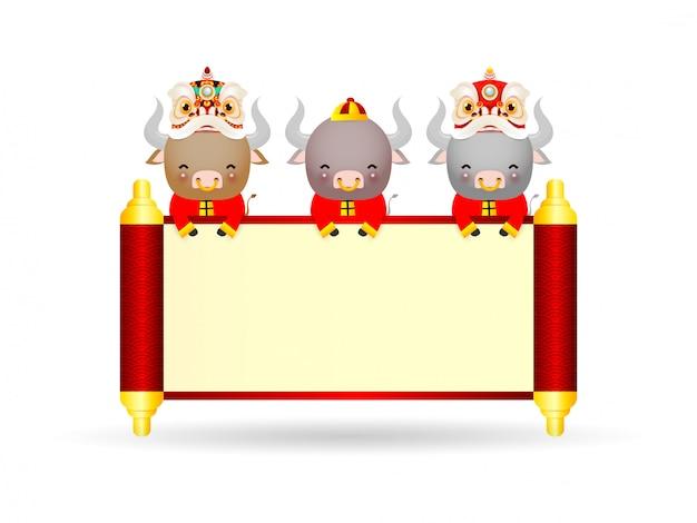 Joyeux nouvel an chinois 2021 de la conception d'affiche du zodiaque bœuf avec danse de bœuf, pétard et lion avec défilement chinois. l'année de la carte de voeux de boeuf isolée sur fond, traduction bonne année.