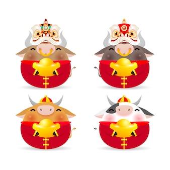 Joyeux nouvel an chinois 2021, ensemble de mignon petit bœuf, l'année du zodiaque bœuf, vache mignonne de dessin animé isolé sur fond blanc