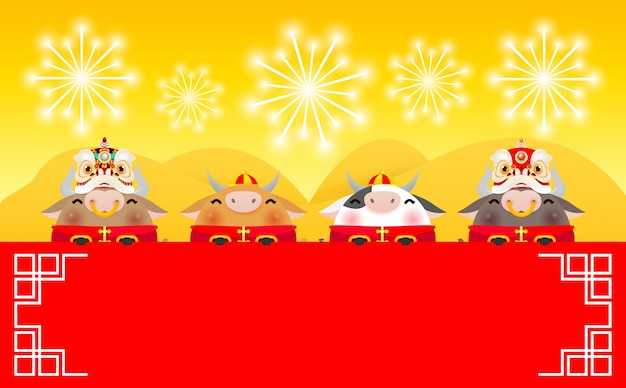 Joyeux nouvel an chinois 2021, quatre petits bœufs et danse du lion tenant une pancarte, l'année du zodiaque du bœuf, mignonne petite vache cartoon, bannière, calendrier, traduction bonne année chinoise