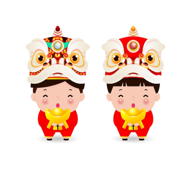 Joyeux nouvel an chinois chine garçon et fille en costume chinois et tête de danse du lion