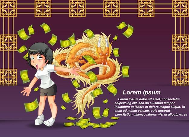 Joyeux nouvel an chinois et dragon.