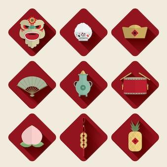 Joyeux nouvel an chinois icônes définies vector