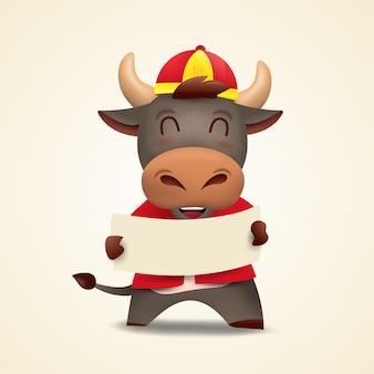 Joyeux nouvel an chinois ox zodiac. personnage de vache mignon en costume rouge.
