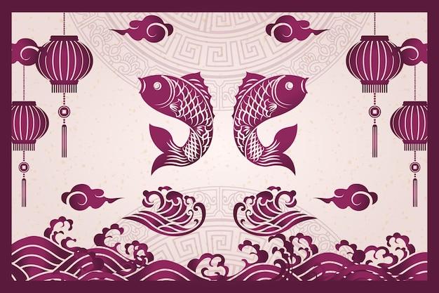 Joyeux nouvel an chinois rétro violet cadre traditionnel poisson lanterne vague nuage et mots de bon augure
