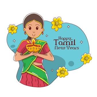 Joyeux nouvel an tamoul jolies filles