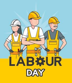 Joyeux ouvriers dans une illustration bleue