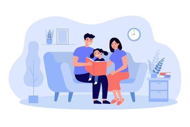 Joyeux parents lisant un livre à sa fille