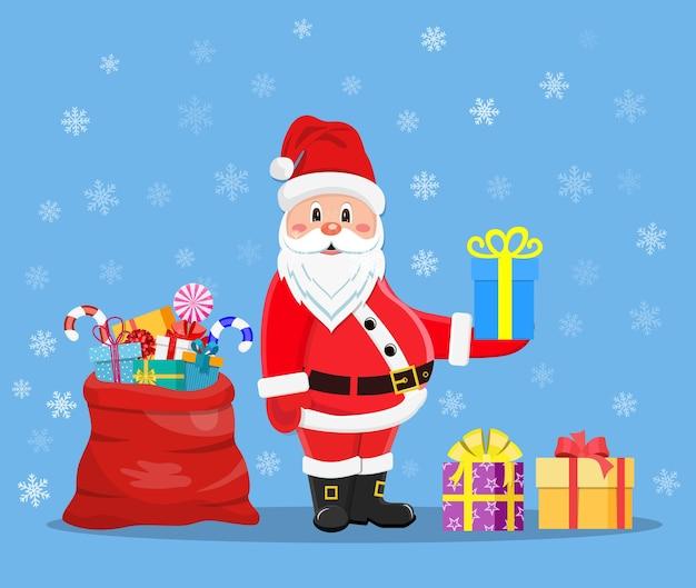 Joyeux père noël avec des cadeaux