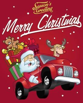 Joyeux père noël conduire un camion rempli de cadeaux de noël