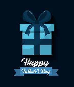Joyeux pères jour bleu enveloppé cadeau boîte ruban arc décoration