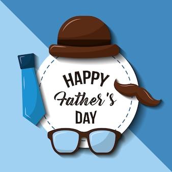 Joyeux pères jour chapeau lunettes moustache et cravate style rétro