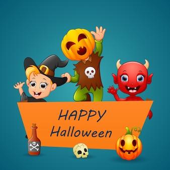 Joyeux personnage d'halloween sur le signe