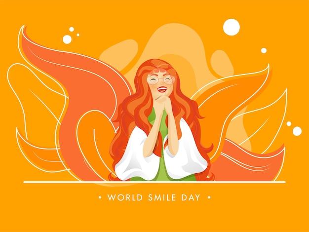 Joyeux personnage de jeune fille et feuilles décorées sur fond orange pour la journée mondiale du sourire.