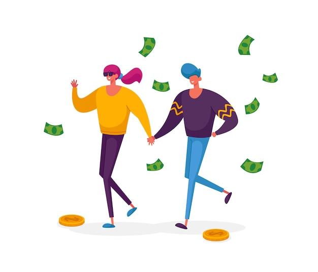 Joyeux personnages de couple accro du shopping avec des factures d'argent faire des achats et acheter des cadeaux
