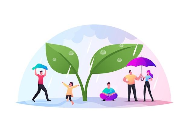Joyeux personnages minuscules trempés avec des parapluies se cachant de la pluie sous une énorme plante verte, de l'eau froide coule du ciel, un automne pluvieux humide ou un temps printanier. les gens boivent du thé, marchent. illustration vectorielle de dessin animé
