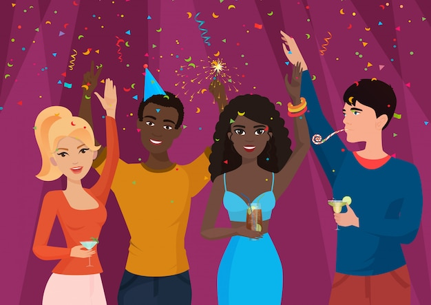 Joyeux peuple noir et blanc debout dans la chute de confettis et célébrant
