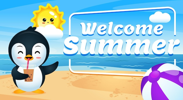 Joyeux pingouin mignon boire du thé glacé au dessin animé de la plage avec la bannière de lettrage welcome summer
