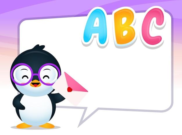 Joyeux pingouin mignon avec grand discours de bulle