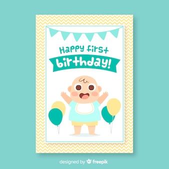 Joyeux premier carton d'invitation d'anniversaire