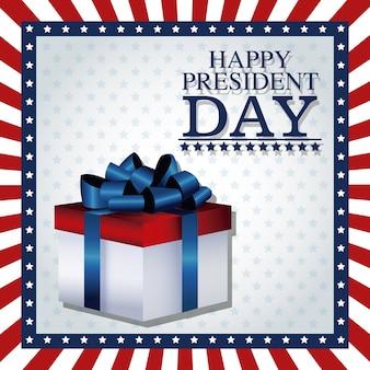 Joyeux président jour cadeau boîte cadre ruban drapeau