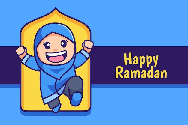 Joyeux ramadan dessin animé hijab musulman fille saut