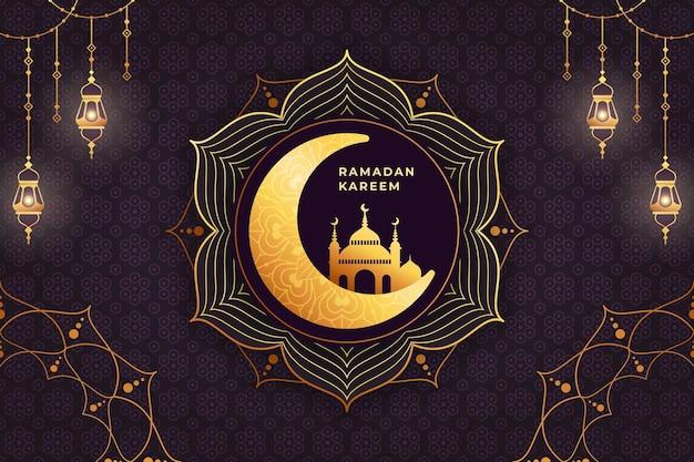 Joyeux ramadan mubarak avec lanterne dorée
