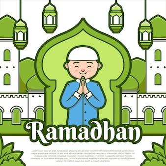 Joyeux ramadhan festival voeux illustration style de dessin animé de couleur verte avec une mosquée mignonne, une lanterne et un personnage musulman